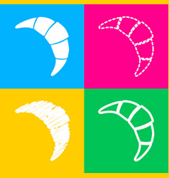 croissant simple sign four styles of icon on four vector image