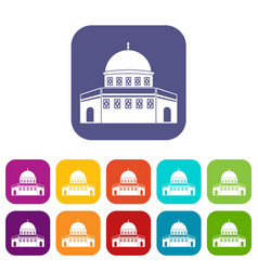 Dome of the rock on the temple mount icons set vector