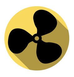 Fan sign flat black icon with flat shadow vector