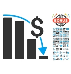 Financial epic fail icon with 2017 year bonus vector