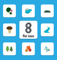 Flat icon nature set of peak champignon pond and vector