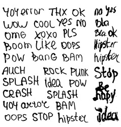 Hand drawn set with short phrases words and slang vector image