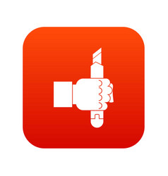 hand hoding construction utility knife icon vector image