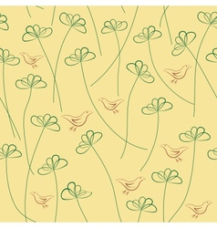 Hands Draw Floral Seamless Pattern vector image vector image