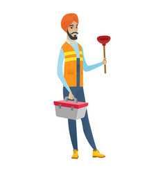 Hindu plumber holding plunger and tool box vector