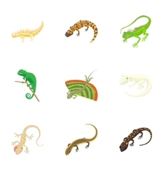 Iguana icons set cartoon style vector