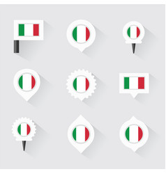 Italy flag and pins for infographic and map design vector