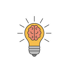 light bulb with a brain inside flat line vector image