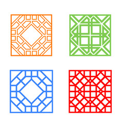 Modern korean window and tile in square design vector