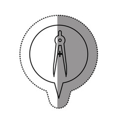 Monochrome contour sticker with drawing compass vector