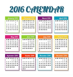 New year 2016 calendar with colored tiles vector image