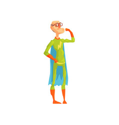 Old superhero showing his biceps grandfather in vector