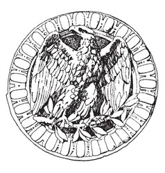 Olive branch eagle is a medallion shown at the vector