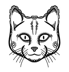Painted head of cat vector