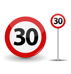round red road sign speed limit 30 kilometers per vector image vector image