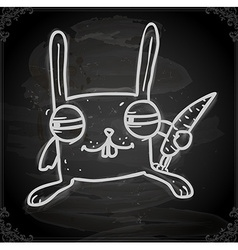Scheming bunny drawing on chalk board vector