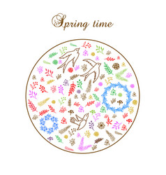 Spring round floral pattern vector