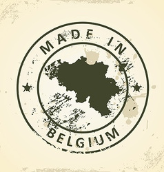 Stamp with map of belgium vector