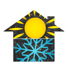 Sun and snowflake house vector