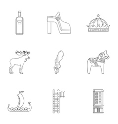 Sweden icons set outline style vector
