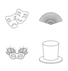 Theatrical mask cylinder fan mask on the eyes vector