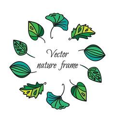 Vintage leaves frame vector