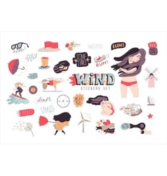 Windy girl sticker pack 1 vector