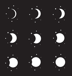 Moon phases silhouette set vector
