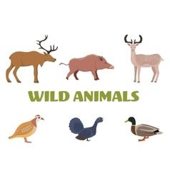 Wild forest animals with boar deer moose duck vector