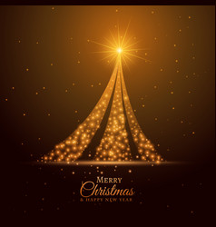 Golden sparkle christmas tree design background vector
