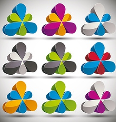 Petals 3d icon set vector