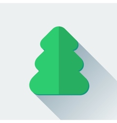 Simple Christmas tree icon in flat style vector image