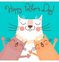 Sweet card for fathers day with cats vector