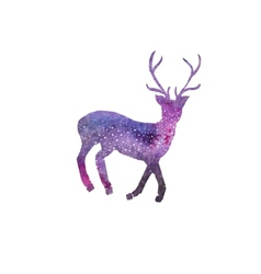 Cosmic deer watercolor galaxy deer on the white vector