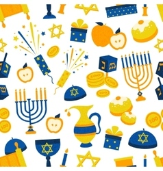 Seamless pattern with hanukkah symbols vector