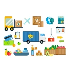 Import export fruits and vegetables delivery vector