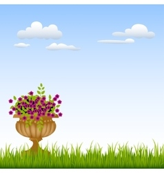 Vase with flowers on a green grass in front of vector image
