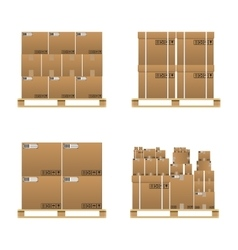 Set of closed brown carton delivery boxes vector
