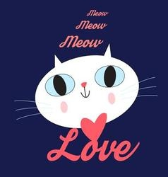 Funny portrait of a cat lover vector