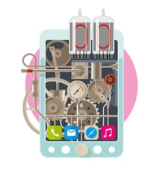 Start up concept steampunk phone vector