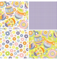 Cute collection of easter patterns vector