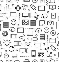 Different line style icons seamless pattern vector
