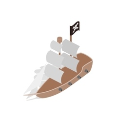 Pirate ship icon isometric 3d style vector