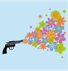A gun shooting flowers vector