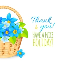 Basket with blue flowers Greeting card template vector image vector image