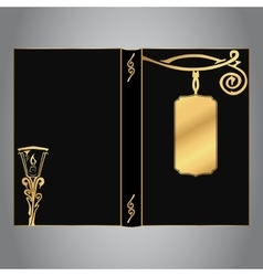 Book cover in black with gold vintage lantern and vector image
