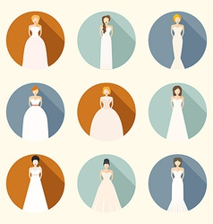 Brids In Wedding Dresses vector image vector image