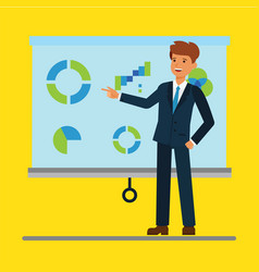 cartoon businessman giving a presentation with vector image