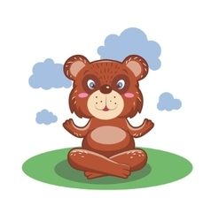 Character cute and beautiful bear practice of yoga vector image vector image