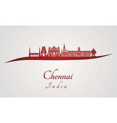 Chennai skyline in red vector image vector image